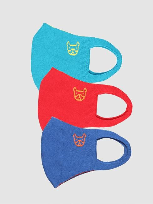 Pack of 3 Logo Print Seamless 2 PLY Mask