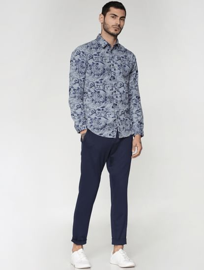 Blue Tailored Slim Fit Trousers