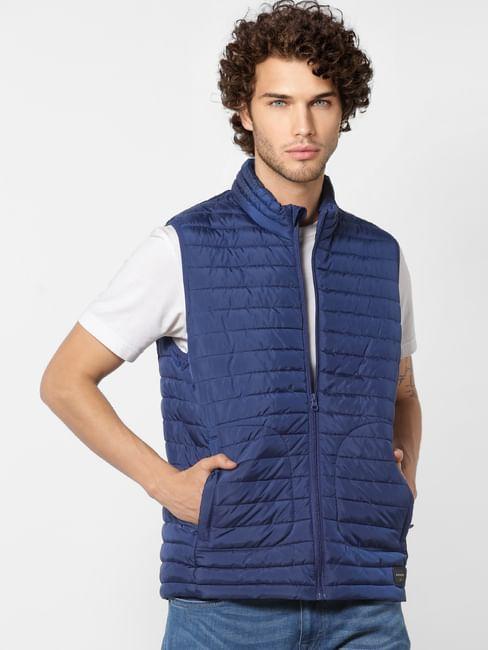 Blue Sleeveless High Neck Puffer Jacket