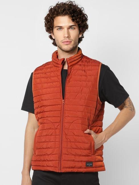 Red Sleeveless High Neck Puffer Jacket