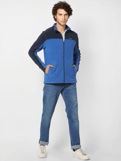 Blue Colourblocked Fleece Jacket