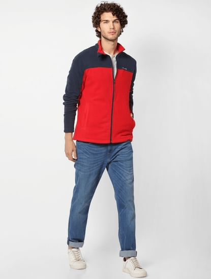 Red Colourblocked Fleece Jacket