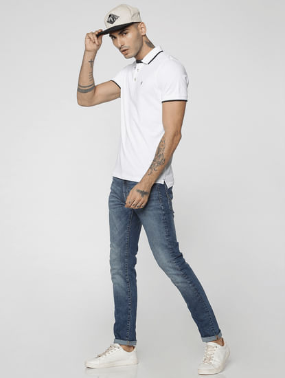 Dark Blue Low Rise Ben Skinny Fit Jeans