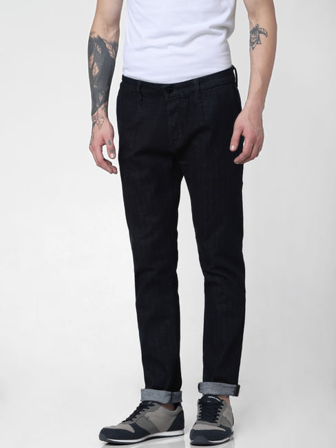 Dark Blue Low Rise Striped Tim Slim Jeans