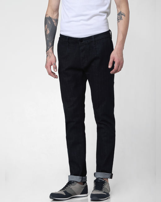 Dark Blue Low Rise Striped Tim Slim Jeans