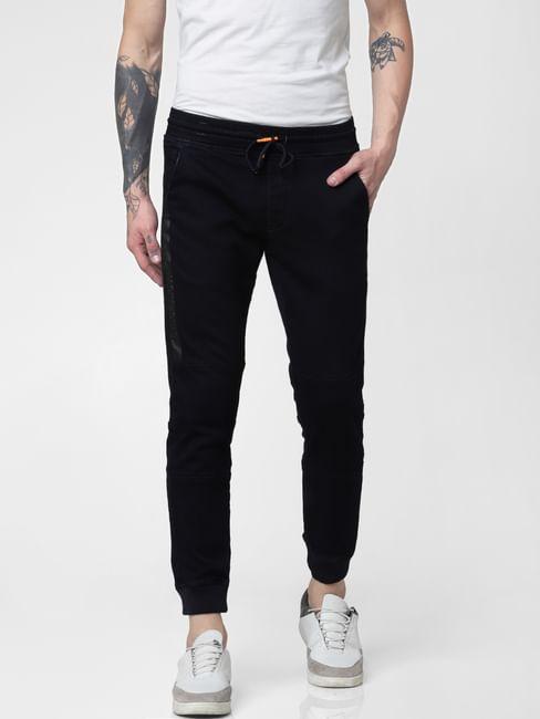 Dark Blue Low Rise Drawstring Glenn Slim Fit Jeans