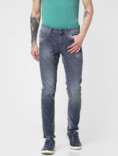 Dark Blue Low Rise Corduroy Detail Glenn Slim Jeans
