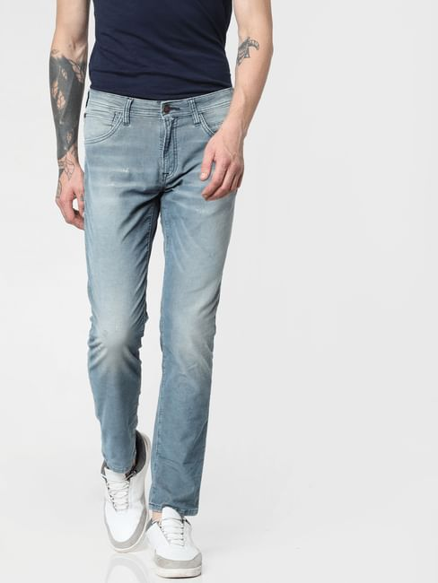 Blue Low Rise Corduroy Detail Glenn Slim Jeans
