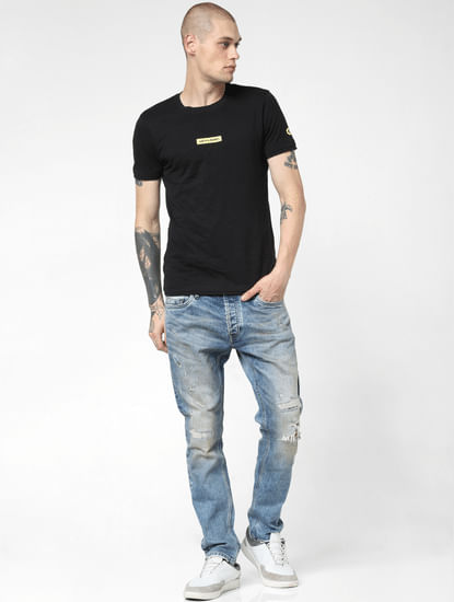 Blue Low Rise Ripped Tim Slim Jeans