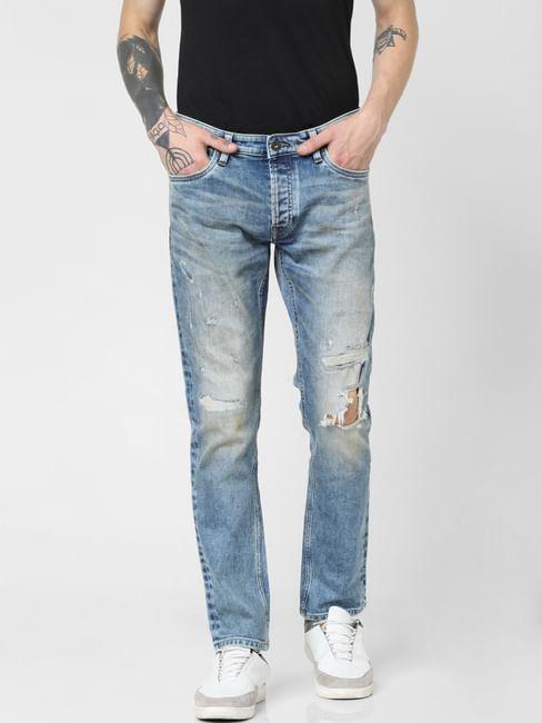 Blue Low Rise Ripped Tim Slim Jeans