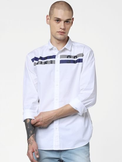 White Patch Print Full Sleeves Shirt