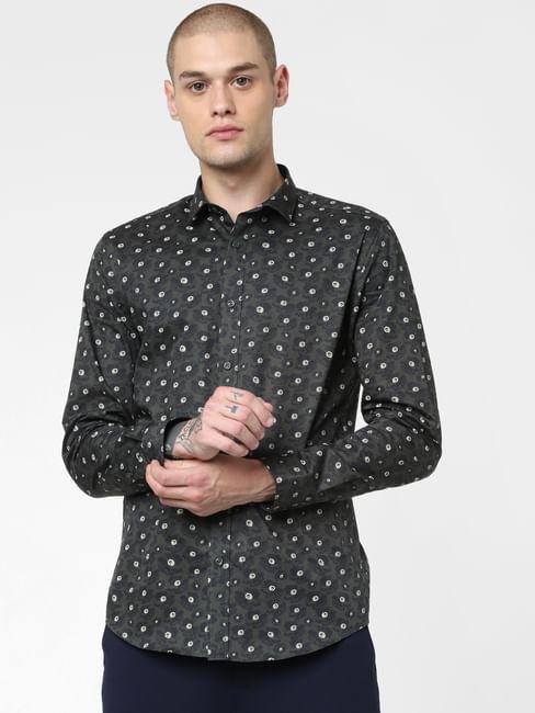 Green Floral Print Full Sleeves Shirt