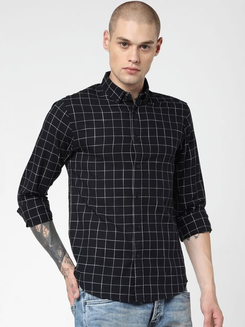 Black Check Print Full Sleeves Shirt