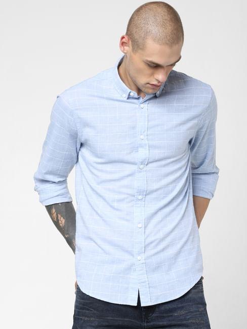 Light Blue Check Print Full Sleeves Shirt