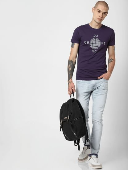 Purple Graphic Print Crew Neck T-Shirt