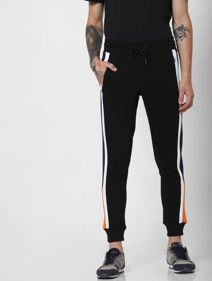 Purple Colourblocked Slim Sweatpants