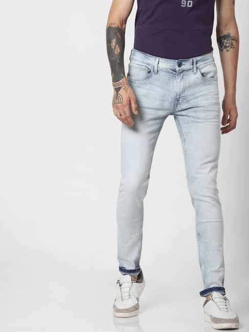 Light Blue Low Rise Faded Liam Skinny Jeans