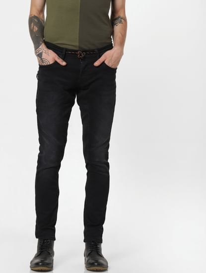 Black Mid Rise Drawstring Simon Anti Fit Jeans