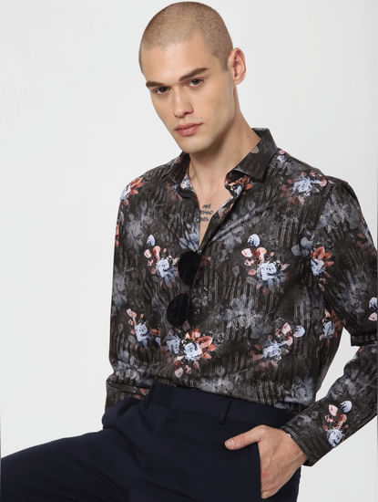 Dark Grey Floral Print Full Sleeves Shirt