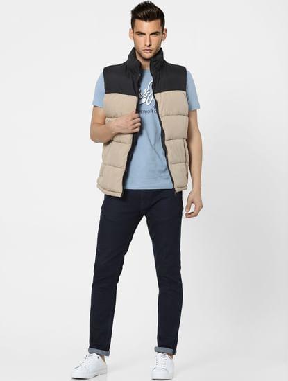 Beige Sleeveless Puffer Winter Jacket