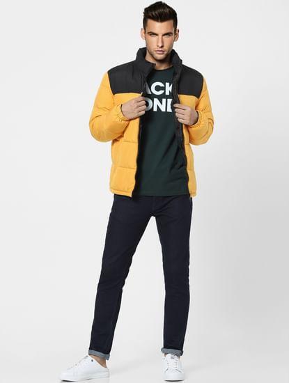 Yellow Sleeveless Puffer Winter Jacket