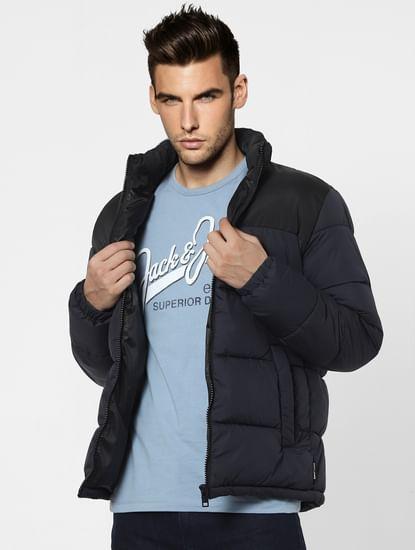 Black High Neck Puffer Winter Jacket