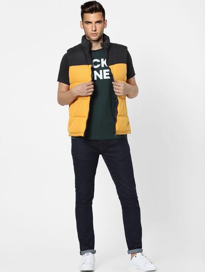 Yellow High Neck Puffer Winter Jacket