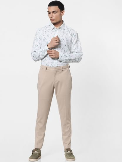 Beige Tailored Formal Trousers