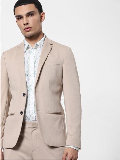 Beige Tailored Formal Blazer
