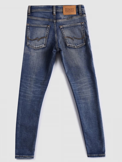 BOYS Blue Low Rise Liam Slim Fit Ripped Jeans