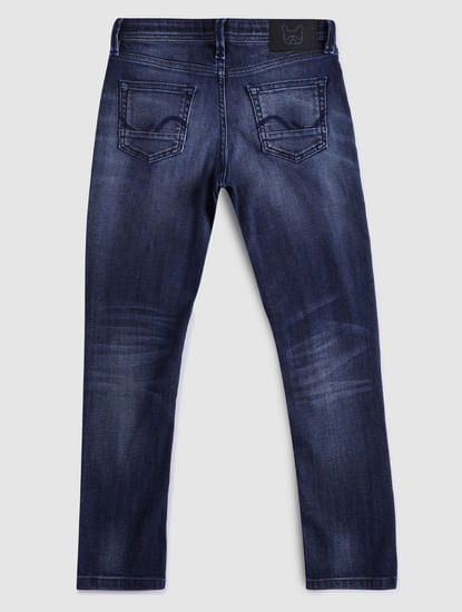 BOYS Blue Low Rise Clark Straight Fit Ripped Jeans
