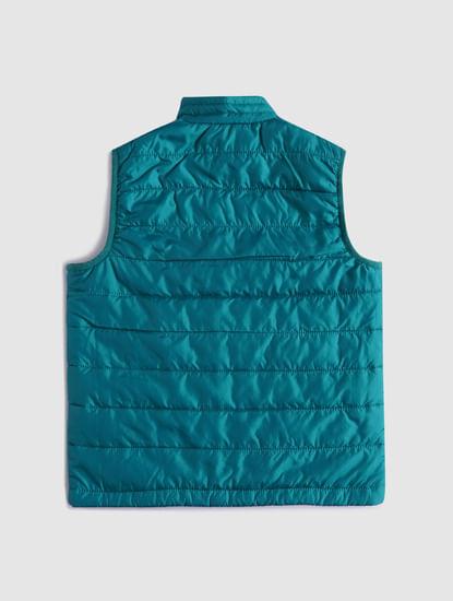 BOYS Green Sleeveless Puffer Winter Jacket