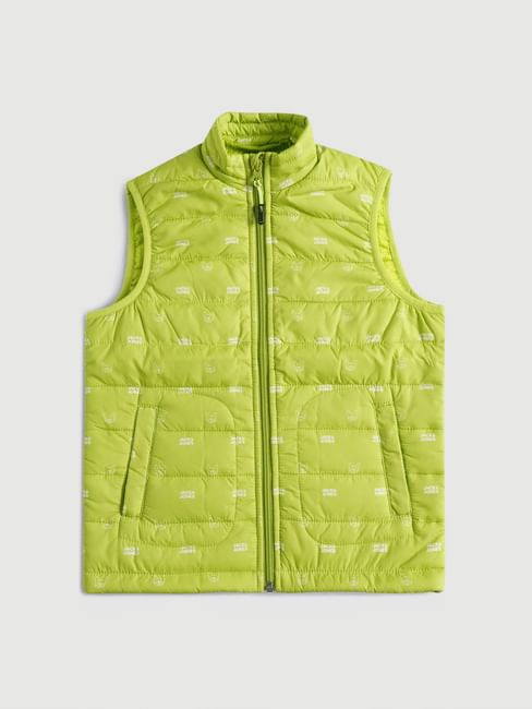 BOYS Lime Green Sleeveless Puffer Winter Jacket