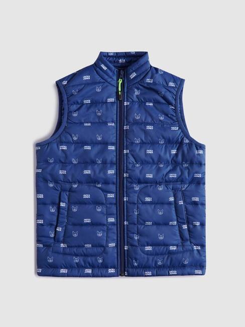 BOYS Blue Sleeveless Puffer Winter Jacket