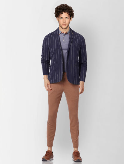 Brown Tailored Knit Trousers