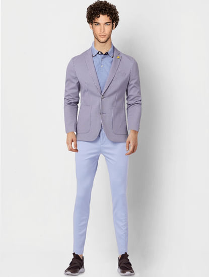 Blue Tailored Knit Trousers