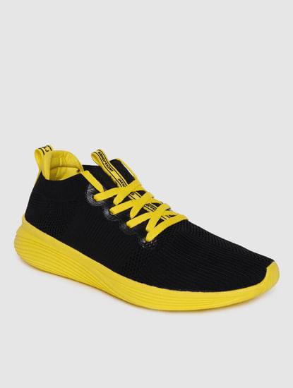 Black & Yellow Lace Up Sneakers