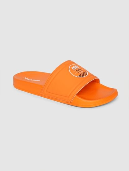 Orange Logo Printed Pool Sliders