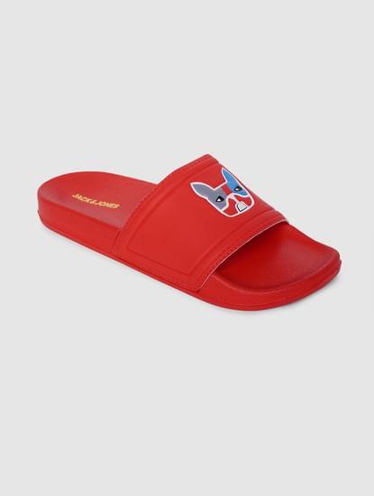 Red Graphic Printed Pool Sliders