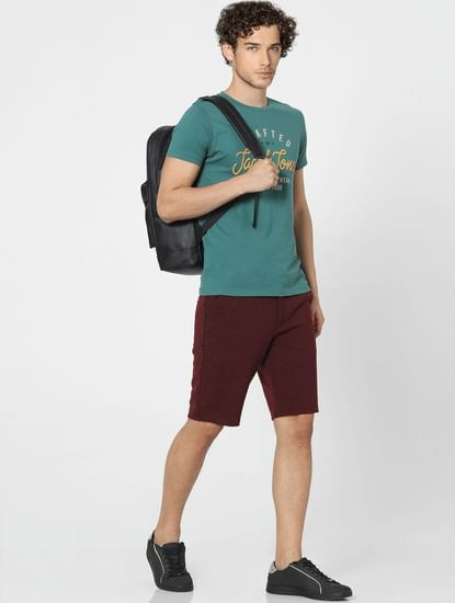 Maroon Low Rise Textured Knit Shorts