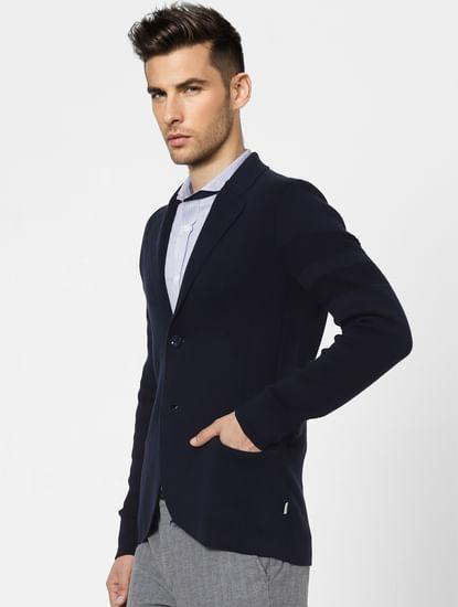 Blue Knit Shawl Collar Blazer
