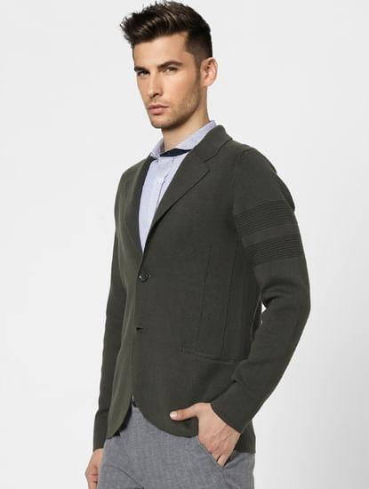 Dark Green Knit Shawl Collar Blazer