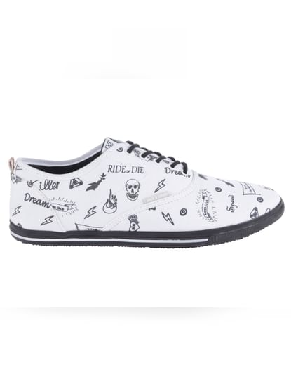 White Printed Sneakers