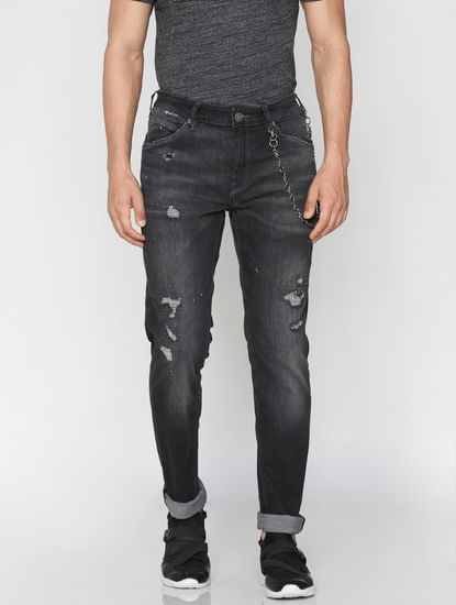 Dark Grey Low Rise Distressed Skinny Jeans