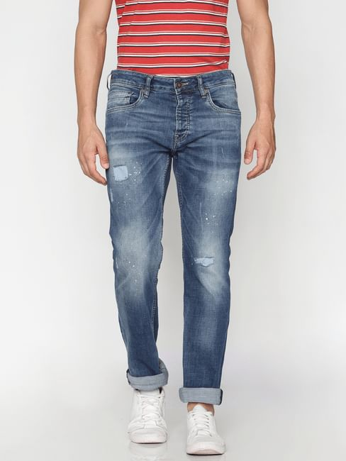 Blue Low Rise Clark Regualr Fit Jeans