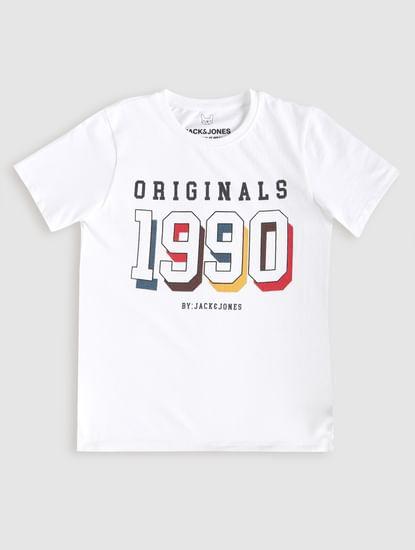 Junior White Logo Print Crew Neck T-Shirt