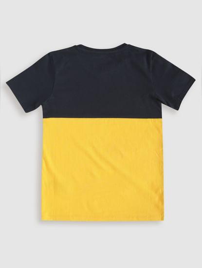 Junior Blue Colourblocked Crew Neck T-Shirt