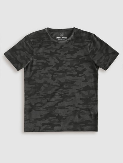 Junior Dark Grey Camo Crew Neck T-Shirt