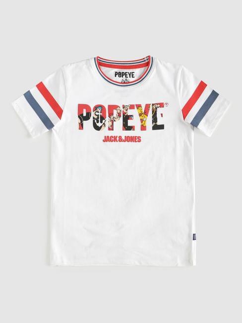 Boys X Popeye White Printed Crew Neck T-Shirt