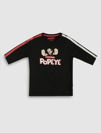 Junior X Popeye Black Printed Crew Neck T-Shirt